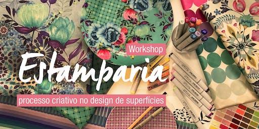 Workshop estamparia, processo criativo no design de superfícies.