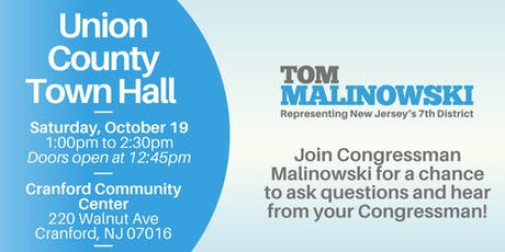 Union County Town Hall with Congressman Tom Malinowski tickets