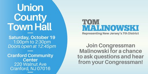 Union County Town Hall with Congressman Tom Malinowski