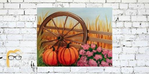 Pumpkins & Wagon Wheel - Lauren's Art Club - Benefits West Volusia Humane Society