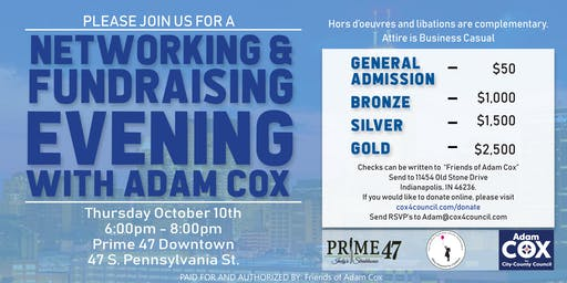 Networking & Fundraising Evening With Adam Cox