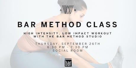 Bar Method Class - September 26th  tickets