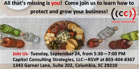 Protect and Grow Your Business Wine and Cheese Social tickets