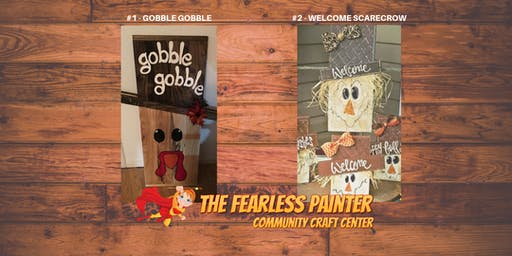 Gobble, Gobble or Scarecrow Wooden Boards