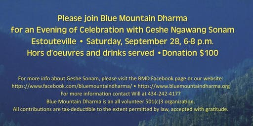 An Evening  with Geshe Ngawang Sonam Fundraiser for Blue Mountain Dharma