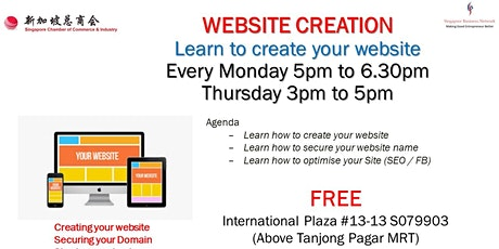 STOP DUE TO COVID (Whatsapp 97291151 for Online CLASS) Learn to Create Website (Free Class) - Please Bring Laptop tickets