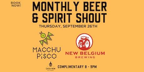 Free Bar Shout! Macchu Pisco & New Belgium Brewing tickets