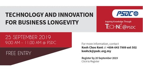 Techné@PSDC - Technology and Innovation for Business Longevity tickets