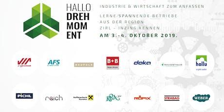 Hallo Drehmoment - Wirtschafts- Forum für die Region Zirl, Inzing & Kematen Tickets