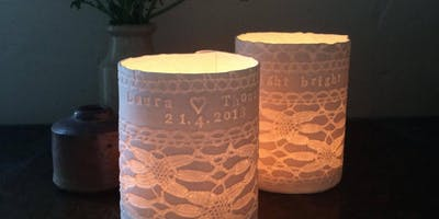 Porcelain tealight holders and Christmas decorations