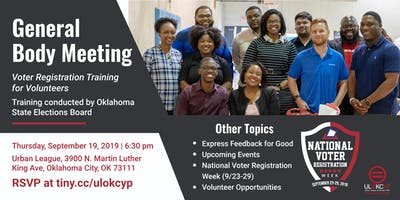 General Body Meeting : Voter Registration Training
