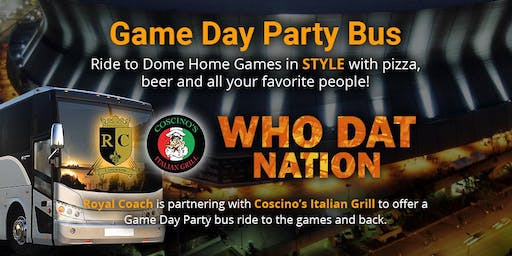 Saints vs 49ers Game Day Party Bus