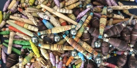 Upcycled jewellery making: reused paper beads tickets