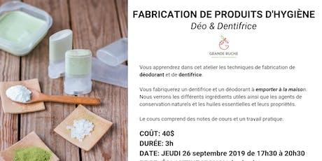 Cours: Fabrication de Déo et Dentifrice naturel avec une herboriste billets