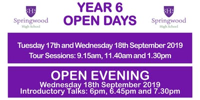 Springwood High School Academy Open Day Tours and Open Evening 2019