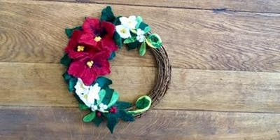 Hand Felted Christmas Wreath - Resist and Wet and Needle Felting