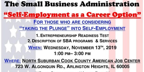 Self-Employment as a Career Option with the SBA (Cook County) tickets