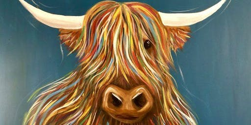 Booze and Brushes: Highland Cow