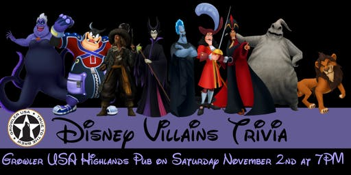 Disney Villains Trivia at Growler USA Highlands Pub