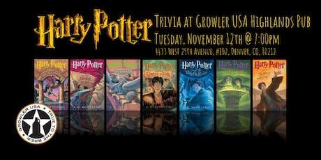 Harry Potter Books Trivia at Growler USA Highlands Pub tickets
