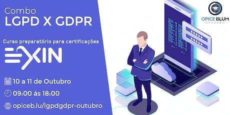 LGPD e GDPR: imersão em proteção de dados preparatória para exames EXIN ingressos