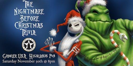 Nightmare Before Christmas Trivia at Growler USA Highlands Pub