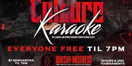 Culture Karaoke Day Party Sunday at Whiskey Mistress tickets