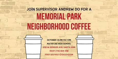 Memorial Park Neighborhood Coffee with Supervisor Andrew Do tickets