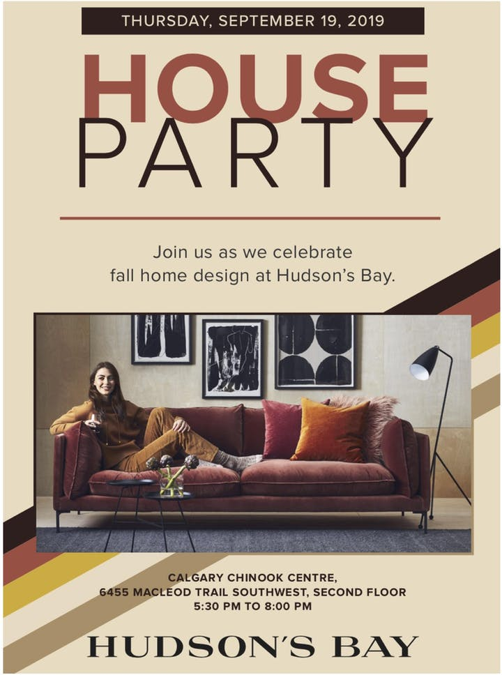 Hudson's Bay Chinook House Party Tickets, Thu, 19 Sep 2019