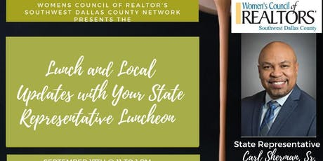 Lunch and Local Updates with State Representative Carl Sherman Sr. Luncheon tickets
