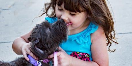 Kind en hond samen veilig op weg billets
