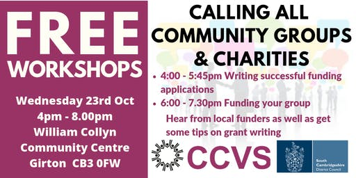 Community Event - Finding funding and creating good funding bids two part event sign up for one or both parts