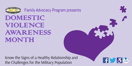 Fort Carson Domestic Violence Awareness Month: Know the Signs of a Health Relationship and the Challenges for the Military Population tickets