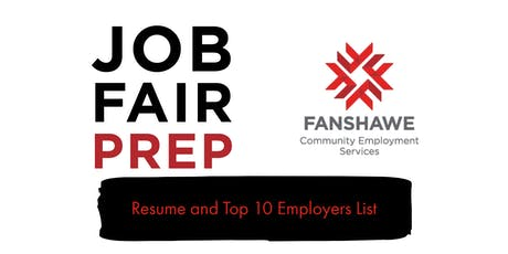 Job Fair Prep: Session 1 - Resume and Top 10 Employer List tickets