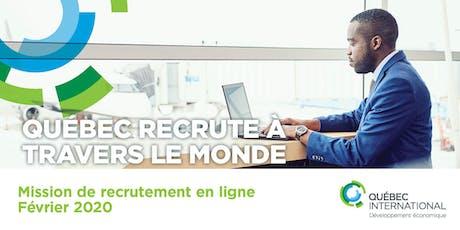 Mission de recrutement en ligne – Février 2020 billets