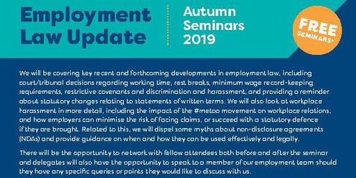 Employment Law Update - Autumn 2019 Colwyn Bay