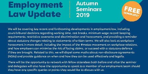 Employment Law Update - Autumn 2019 Telford