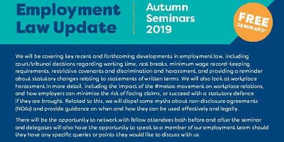 Employment Law Update - Autumn 2019 Shrewsbury