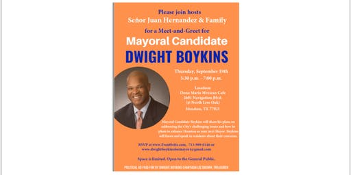 Mayoral Candidate Dwight Boykins: Meet and Greet