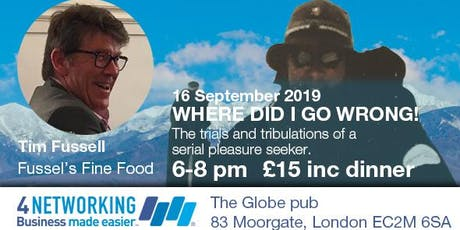 Where did I go wrong! - 4N Moorgate evening networking tickets