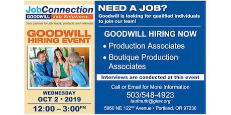 Goodwill is Hiring - Portland (near Airport) - 10/2/19 tickets