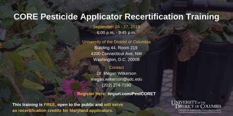 CORE Pesticide Applicator Recertification Training tickets