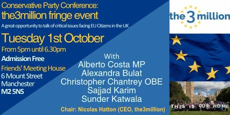 Conservative Party Conference: the3million fringe event tickets