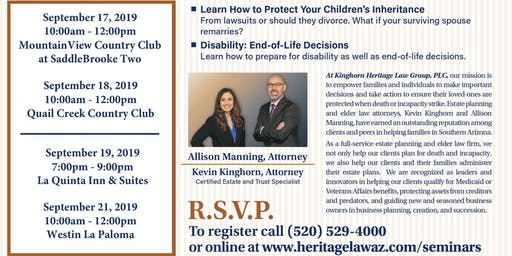 Estate Planning Seminar – September 21, 2019