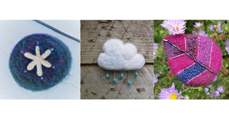 Needle felted and embroidery brooch course tickets