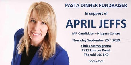 Pasta Dinner Fundraiser for April Jeffs, Conservative Candidate for Niagara Centre tickets