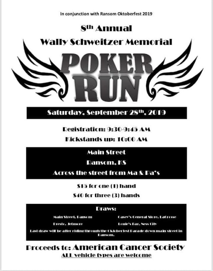 8th Annual Wally Schweitzer Poker Run Tickets, Sat, Sep 28