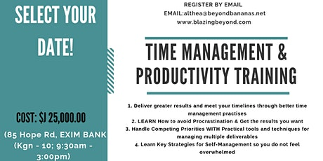 Time Management & Productivity Training tickets