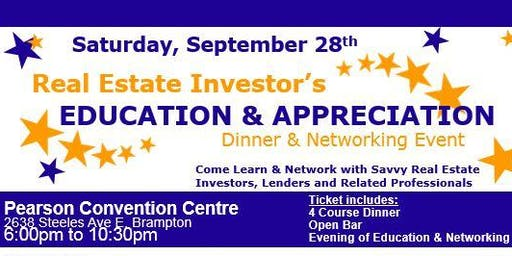 Real Estate Investors Education & Appreciation Dinner and Networking Night