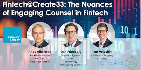 Fintech@Create33:  Nuances of Hiring Legal in Fintech tickets